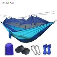 Dropshipping. Exclusivo. 1 2 Persona al aire libre Red de Mosquito paracaídas hamaca colgante de camping cama columpio portátil silla doble Hamac