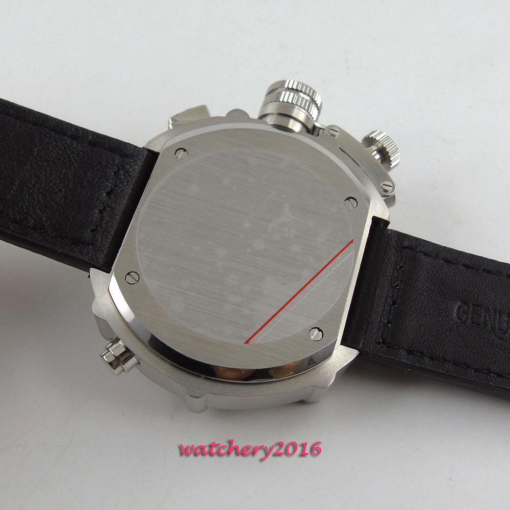 50mm parnis Black Dial Chronograph Militær Mekaniske ure Herre Watch - Mænds ure - Foto 4