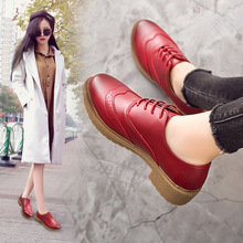 Buy Spring/Autumn Retro Women Shoes Brogue Shoes Flat Platform Leathers Shoes Woman Lace-Up Fashion Casual Solid Plus Size 35-41 directly from merchant!