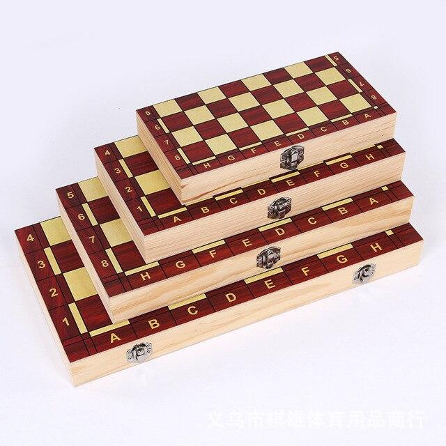 3-en-1 fonction haute qualité en bois échecs , dames backgammon ensemble jeu de société pliable et portable 5