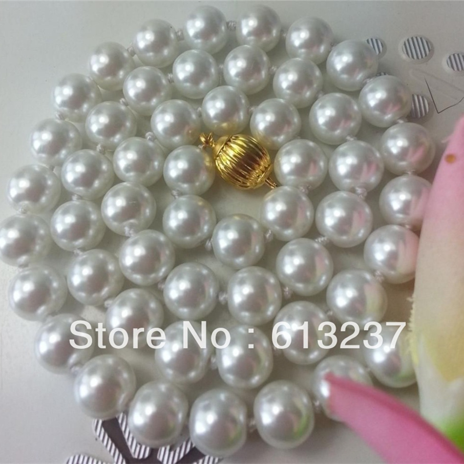 Fashion white trendy shell artificial pearl beautiful 8mm beads diy new arrival jewelry making 18 inch necklace 18''MY4184