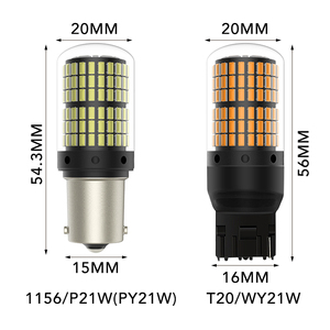 Image 5 - 1 個T20 led 7440 W21W W21/5 ワットled canbus電球 144smd 1156 P21W led BA15S PY21W BAU15S 1157 BAY15Dランプターン信号光