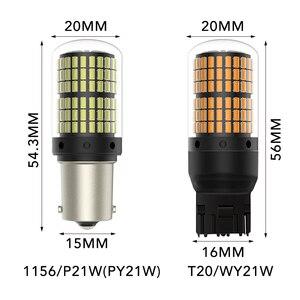 Image 5 - Светодиодные лампы T20 LED 7440 W21W W21/5W Canbus 144smd 1156 P21W led BA15S PY21W BAU15S 1157 BAY15D для указателей поворота, 1 шт.