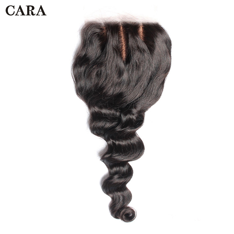 Silk Base Closure Brazilian Virgin Hair Loose Wave Lace Closure 4x4 Free Part Pre Plucked Natural Hairline With Baby Hair CARA