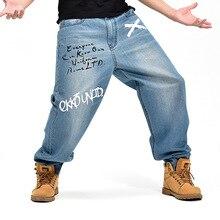 Осень зима свободные большие мужские большие размеры хип хоп танцор Паркур мешковатые джинсы Уличная мода синие джинсовые брюки мужские уличная одежда