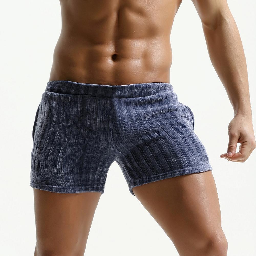 Mens Corduroy Shorts Vintage Breathable Soft Trunk Elastic Waist Side Pocket Foe Man
