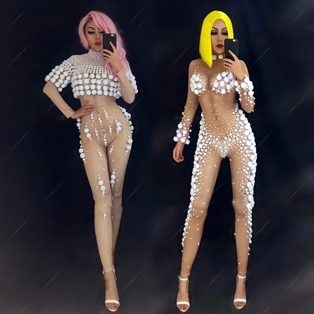 Birthday Outfits For Women White Nude Color Stretch Jumpsuit Nightclub Costume Stage Bodysuit Celebrity Rave Clothing DNV10278