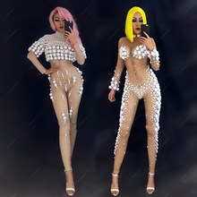 Birthday Outfits For Women White Nude Color Stretch Jumpsuit Nightclub Costume Stage Bodysuit Celebrity Rave Clothing DNV10278(China)