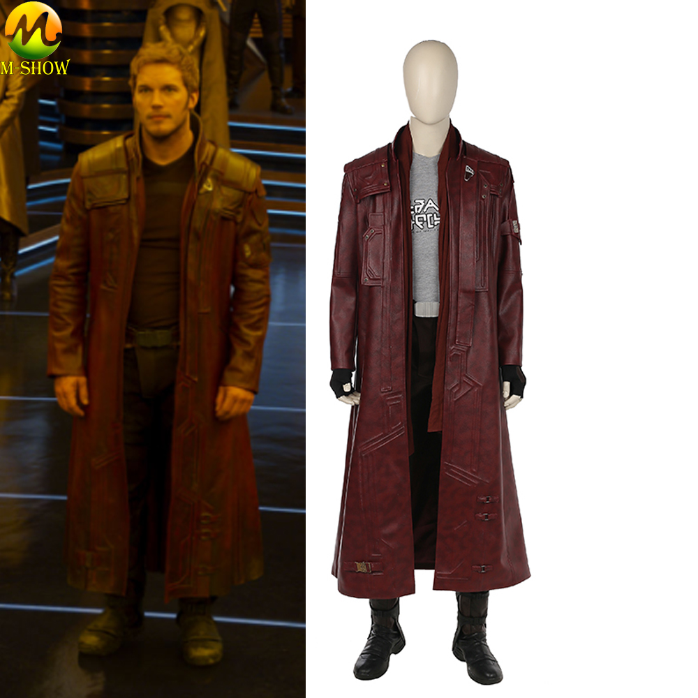 Guardians Of the Galaxy 2 Star Lord Cosplay Costumes Peter Quill Halloween Cosplay Costume Long Leather Jacket Custom Made