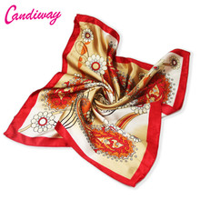 2017 Hot High Quality Office Women Scarf Bandana Spring Silk Scarf Brand Square Foulard Women Square Satin Scarves Hijab 50cm