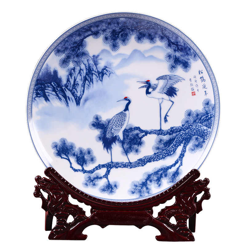 Jingdezhen porcelain hanging plate blue and white pine crane decoration plate living room household handicraft decoration