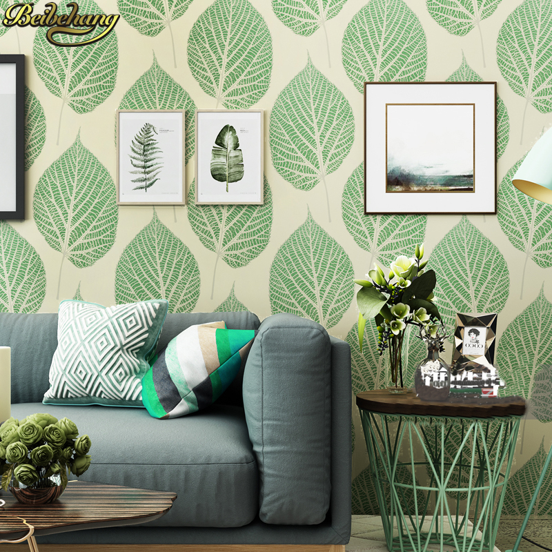 Beibehang Papel De Parede 3D Nordic Black White Green Leaves Wallpaper For Walls 3 D Papel Parede Wall Paper Roll Home Decor