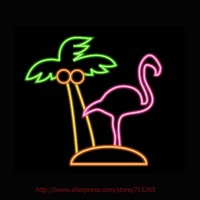 Flamingo Palm Neon Bulbs Neon Signs Shop Display Real Glass Tube Handcrafted Free Design Advertising Bright