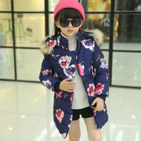 Girl Winter Coat 2019 New Jacket Large Fur Collar Long Thick Jacket Girls Child Coats Outwears Floral Warm for Cold Winter