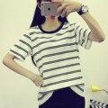 Летом новых крупных женщин размер корейский институт ветер просто комфортно с коротким рукавом полоса футболка ти студентки