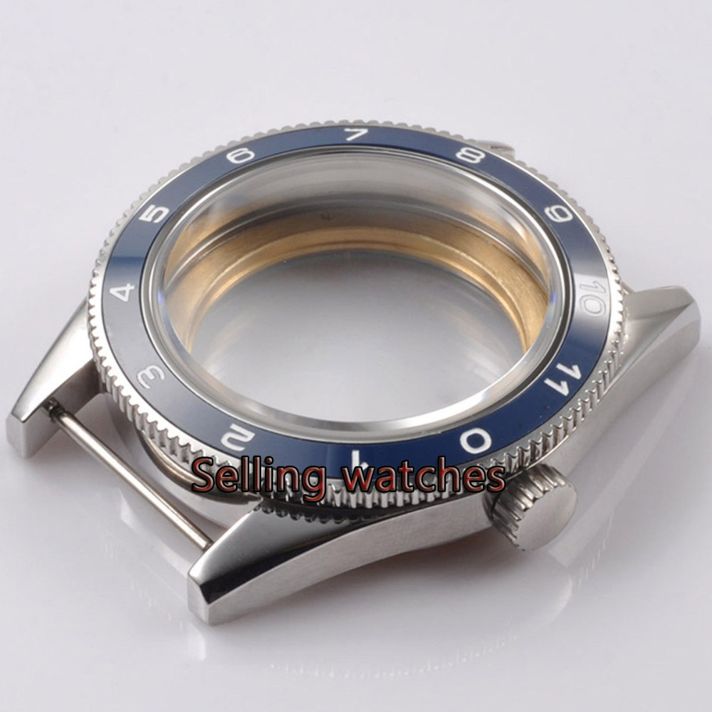 41mm blue ceramic bezel sapphire glass Watch Case fit ETA 2824 2836 MOVEMENT цена и фото