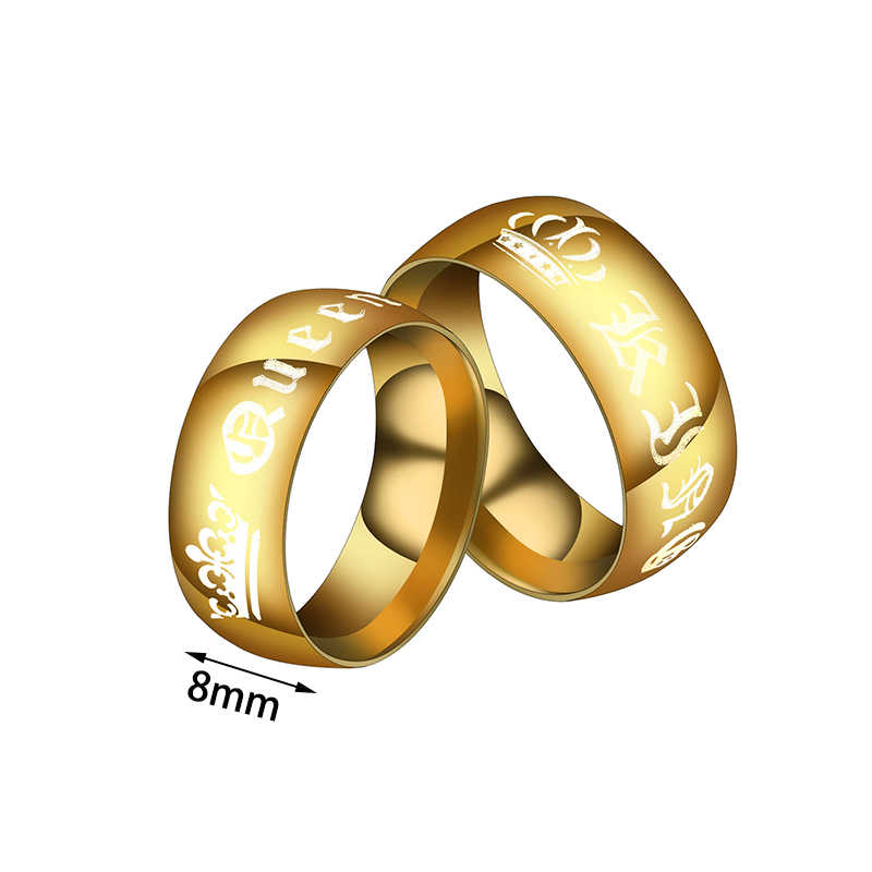 d9d47698c3 ... Auxauxme Gold Crown Couple Ring Stainless Steel Her King His Queen  Wedding Bands Anniversary Jewelry Promise ...