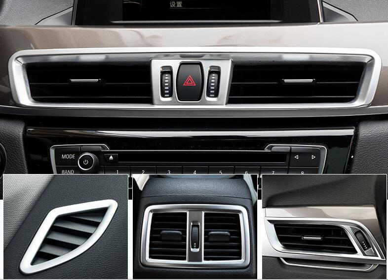 For BMW X1 F48 2016 2017 Matter ABS Chrome plastic Left Hand Side Driving Dashboard Console Air Condition Vent Trim 6pcs 6pcs