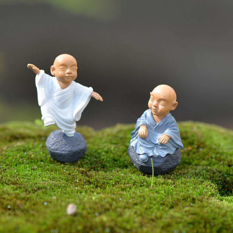 4Pcs/Set Chinese Kung Fu Monk Wealth Miniature Garden Decor Figurines Desktop Succulents Plant Potted Ornaments Accessories