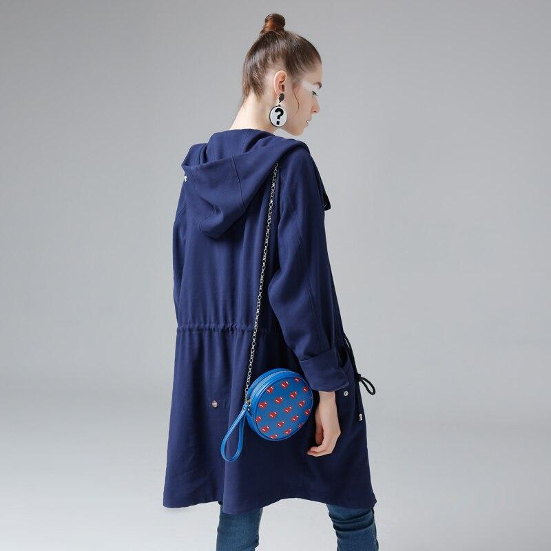 Toyouth Плащ 2017 Весна Женщин С Капюшоном Пальто Свободный Свободный Draw Строки Длинные Молнии Пальто