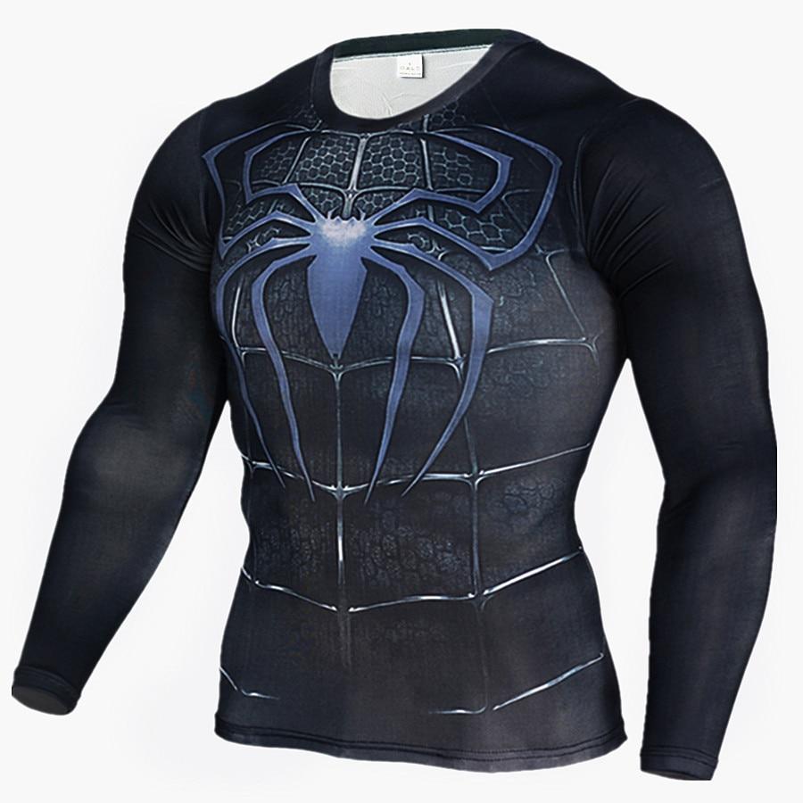 Mens T Shirts Fashion Compression Shirt Superman Captain America 3D Long Sleeve T Shirt Fitness Men Crossfit Brand Clothing