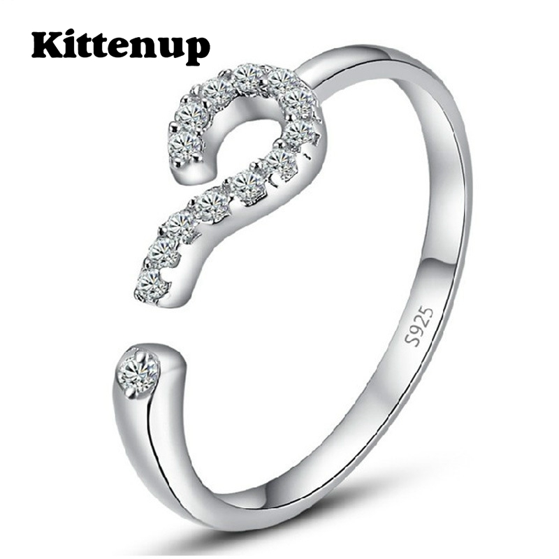 Kittenup Korea Fashion Silver Color Open-end Question Mark Ring Charm Jewelry for women Gifts