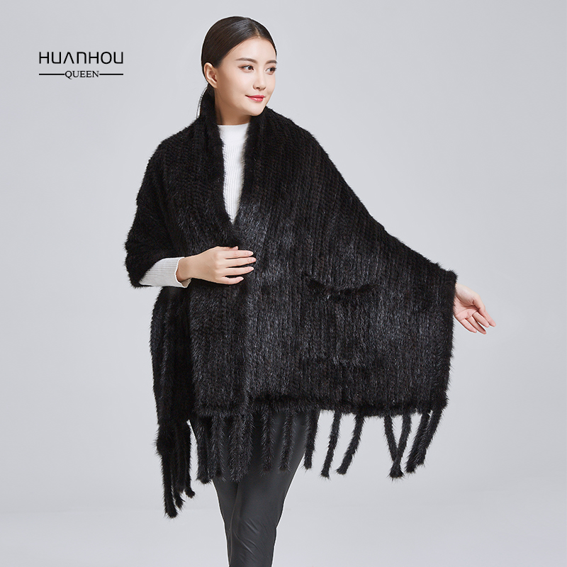 Huanhou reine 2018 réel nature fourrure de vison châle, mode chaud et confortable, réel de fourrure de vison châle, fourrure de vison tricoté echarpes.