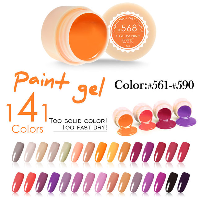 2017 CANNI professional nail art 141 colors 5ml uv led soak off paint gels for nail art designs