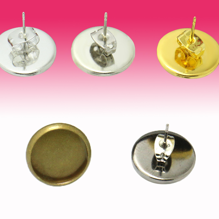 Jewelry Findings & Components 20x Inner 12mm Double Orifice Ear Nut+stud Earring Blank Bezel Setting Tray Antique Bronze,silver,gold For Glass Cabochons