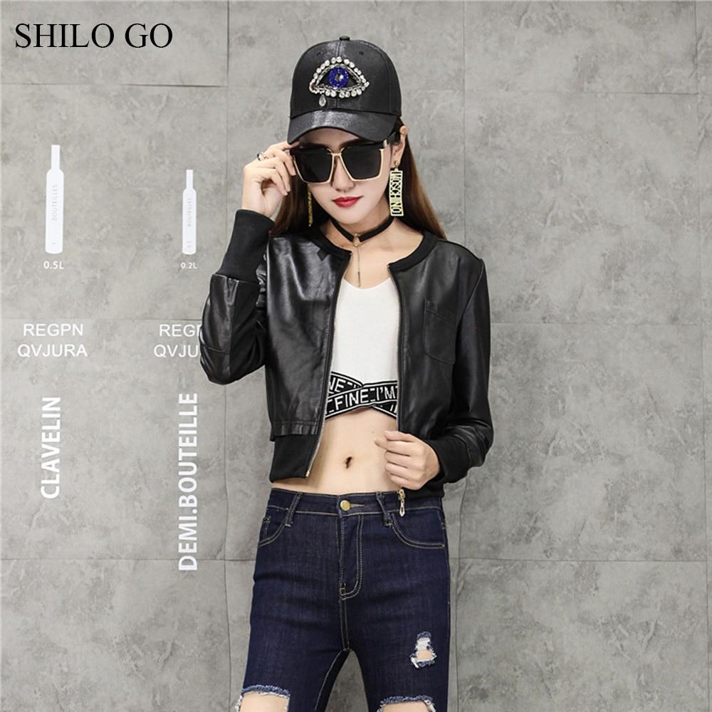 SHILO GO veste en cuir pour femmes mode d'été en peau de mouton manteau en cuir véritable col rond poche avant veste de base-ball décontractée - 5