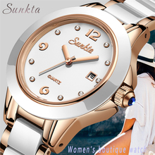 SUNKTA2019 New Quartz Women Watches Top Luxury Brand Ladies Casual Waterproof Watch Womens Dress Ceramic Relogio Feminino