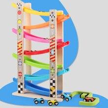 Деревянный 7-слойная пандус гоночный трек и 8 мини инерционных машин раздвижные игрушечный Vehicel& поезд для маленьких моторики развивающий детский подарок