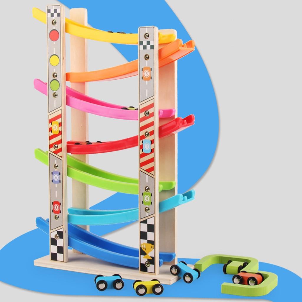 Wooden 7-layer Ramp Race Track & 8 Mini Inertia Car Sliding Toy Vehicel&Train Baby Toddler Motor Skill Developmental Kids Gift