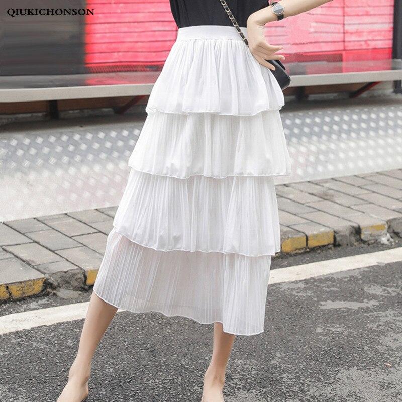 Cute Ladies Cascading Ruffle Skirts Pleated 2019 Spring Summer Women High Waisted A-Line Long Midi Chiffon Skirt saia plissada