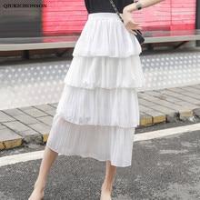 Cute Ladies Cascading Ruffle Skirts Pleated 2019 Spring Summer Women High Waisted A-Line Long Midi Chiffon Skirt saia plissada high waisted metal embellished chiffon skirt