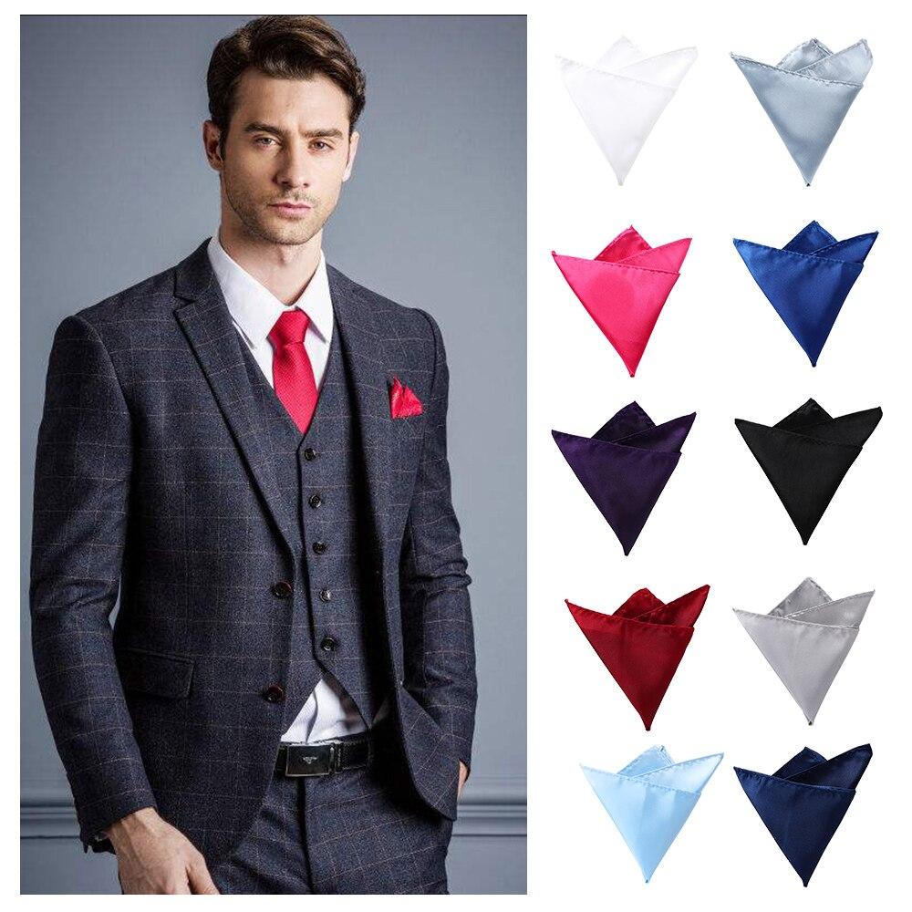 1PC Classic Mens Satin Solid Plain Color Handkerchief Wedding Party Pocket Square Towel Fashion Clothing Accessories 10 Colors