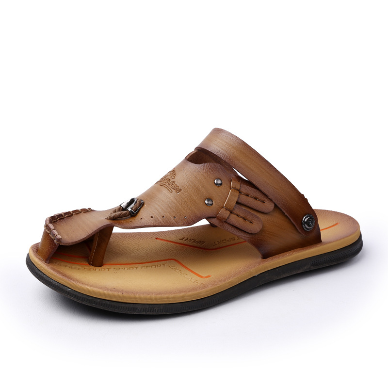9bdc8e775cada2 Akexiya Big Size Men Sandals Summer Fashion Men Casual Sandals Genuine  Leather Slip On Sandalias Beach Water Men Shoes Slides-in Men s Sandals  from Shoes on ...