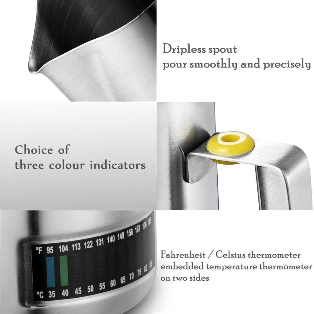 ミルク起泡投手統合された温度計、 16 オンス/480 ミリリットルステンレス鋼ミルクコーヒーカプチーノラテバリスタ水差し投手