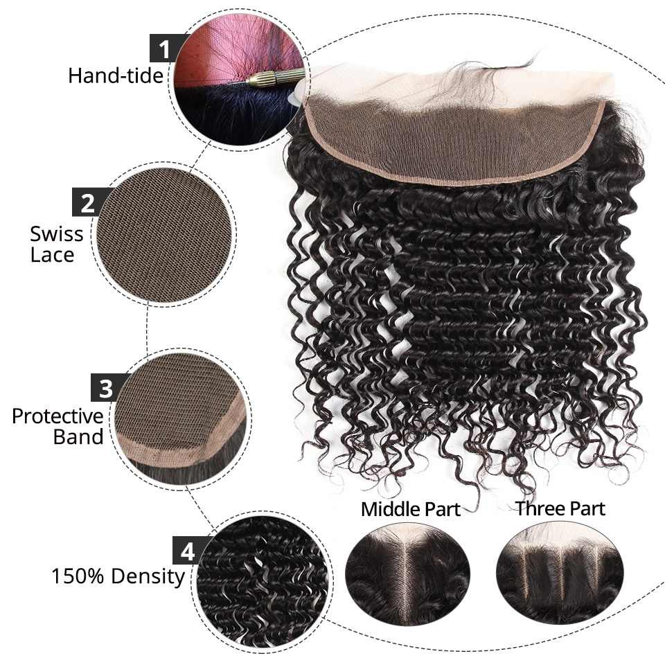 AliPearl Hair Brazilian Deep Wave Lace Frontal Closure 13X4 with Baby Hair Human Hair Free Part Color 1b Remy Hair Free Shipping