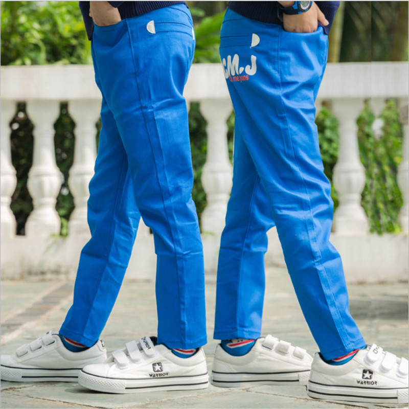 2018 New Boys Casual Pants Fashion Slim Elastic Waist Straight Trousers 110-160 Plus Velvet Warm Pants For Children 6 Colors 2018 new fashion letter kids boys pants trousers casual cotton elastic waist pencil pants for boys children clothing 4 16t ds175