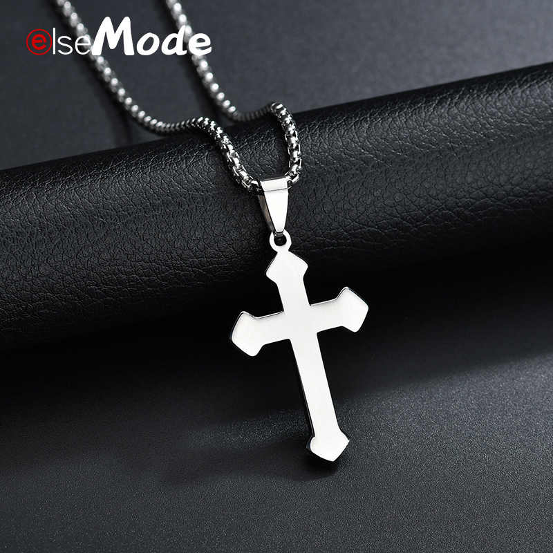 ELSEMODE  Christian Prayer Cross Pendant Necklace 316L Stainless Steel JESUS Necklaces Religions Jewelry for Male Famale