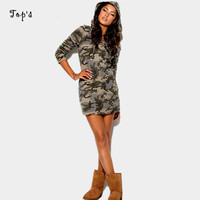 2015 New Arrival Spring Women Camouflage Print Dress Sexy Vestidos Hoody Casual Dress