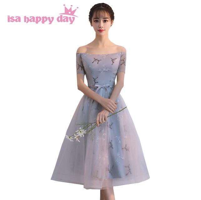 short formal boat neck grey   bridesmaid   tulle bridesmade tea length   dress   brides maid teenss girls'   dresses   short sleeve H4283