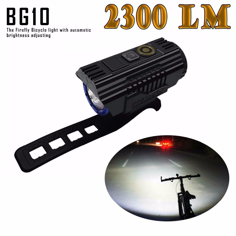 IMALENT BG10 Smart-adapter la lumière de bicyclette CREE XHP50 led 2300 Lumens avec la charge d'usb et la batterie 26350 pour le phare de bicyclette