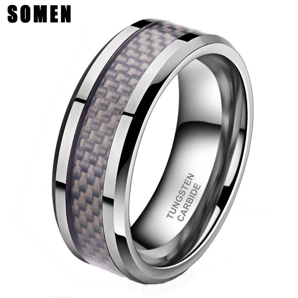 8mm Carbon Fiber Inlay Hartmetall Ring Manner Hochzeit Band