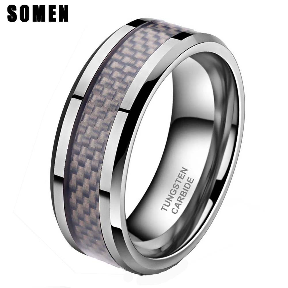 Beveled Mens Tungsten Wedding Band Silver Inlay 8mm