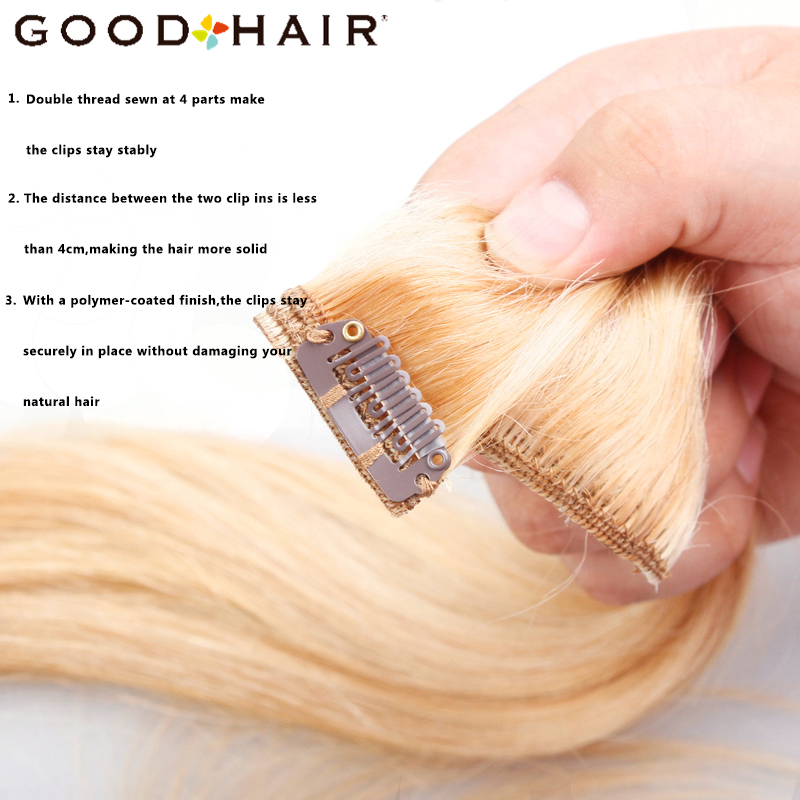 GOOD HAIR Straight Clip In Human Hair Extensions Қара - Адам шашы (ақ) - фото 4