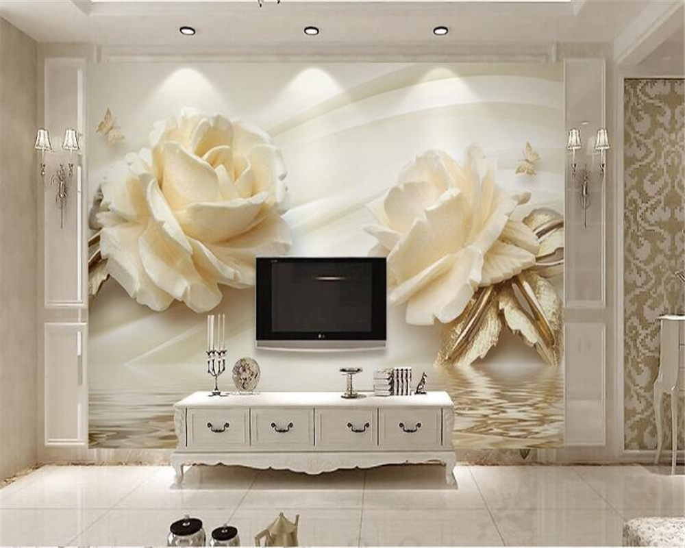 Beibehang 3D Wallpaper Stereo Champagne Rose Water Wave Reflection TV Background Wall Living Room Bedroom Decoration wallpaper