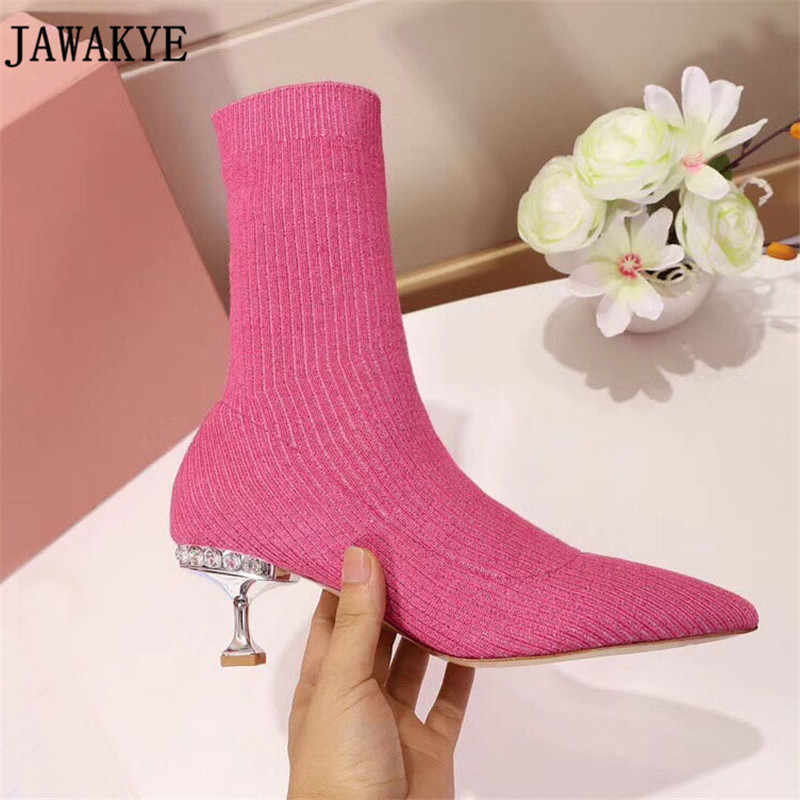 Candy color Bling bling sequin kitten Heel Knitted Ankle Boots for women  rhinestone sock shoes Short 316b352dfa20