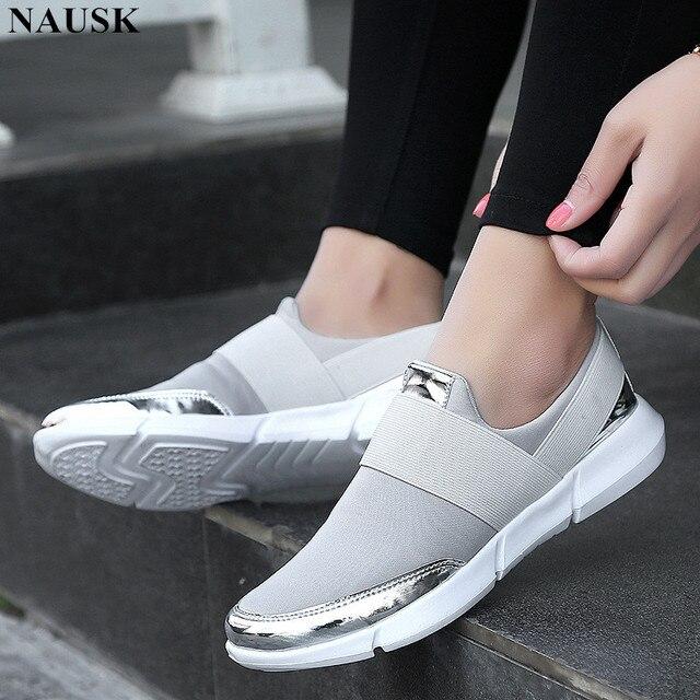 3f19da57ecb NAUSK 2018 Women Casual Shoes Female Platform Shoes Slip On Women Flat  Tenis Casual Ladies Shoes Flats Silver Sneakers Size34-42
